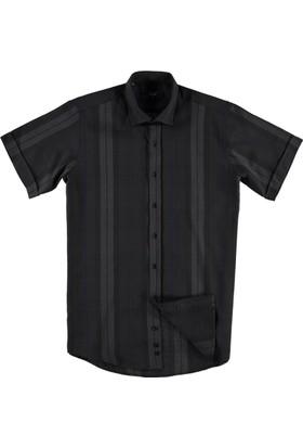 Kiğılı Kısa Kol Klasik Gömlek Siyah
