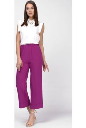 İroni Duble Paça Fuşya Beli Lastikli Pantolon