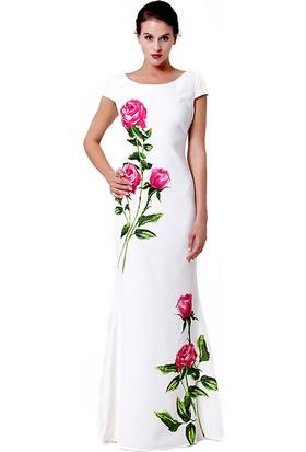 Tebi Üst Yan Çiçek Etek Ucunda Çiçek Detaylı Uzun Abiye