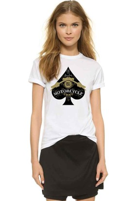 The Chalcedon Black Spade Motorcycle Bayan Tshirt