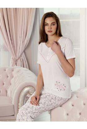 Şahinler Desenli Kadın Pijama Takımı Ekru MBP23406-1