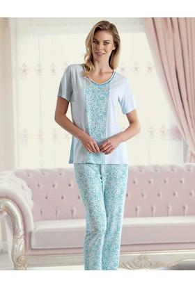 Şahinler Desenli Kadın Pijama Takımı Mavi MBP23423-2
