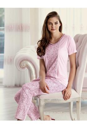 Şahinler Desenli Kadın Pijama Takımı Pembe MBP23423-1