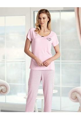 Şahinler Kalp Puantiyeli Kadın Pijama Takımı Pembe MBP23422-1