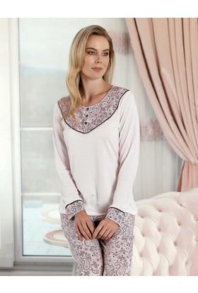 Şahinler Sal Desenli Kadın Pijama Takımı MBP23424-1