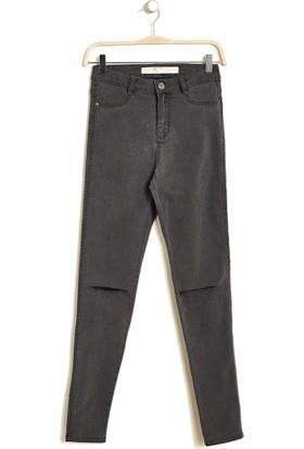 Hogg Yüksek Bel Dizi Yırtık Denim Pantolon