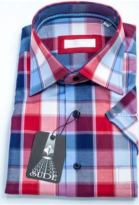 Sude Klasik Kareli Pamuklu Gömlek Kısa Kollu - Cepli 31075