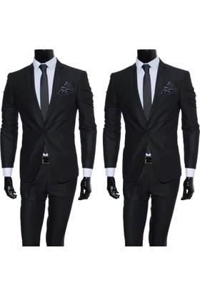 GiyimGiyim Erkek Dar Kesim Siyah Takım Elbise