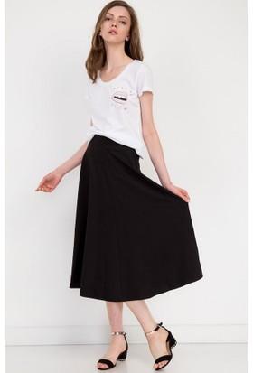 Bsl Fashion Siyah Etek 7339