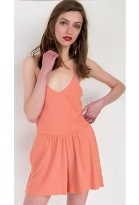 Bsl Fashion Pembe Tulum Elbise 9127