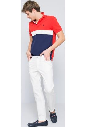 U.S. Polo Assn. Erkek Carlos7Y-Ing Jean Pantolon Beyaz