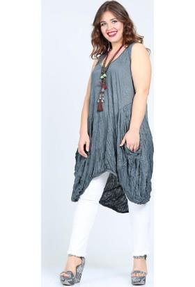 Valeria Fratta Kraçlı Rahat Kesim Kolsuz Haki Elbise Tunik VF7026