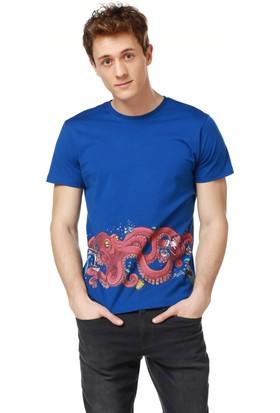 Mumu Barista - Murat Başol Tasarımı Mavi Bisiklet Yaka Erkek T-Shirt