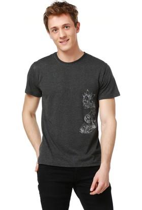 Mumu Chicken - İlker Sak Tasarımı Antrasit Bisiklet Yaka Erkek T-Shirt