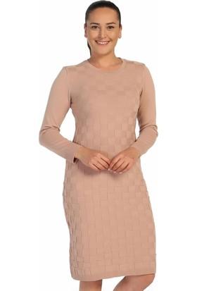 Lir Bayan Mevsimlik Triko Elbise Pudra TRK-8537