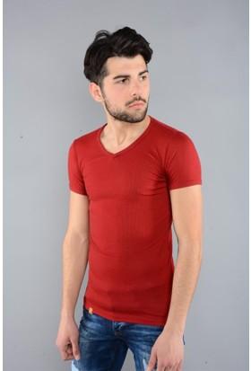 Rodin Hills Bordo Erkek V Yaka T-Shirt Basic Modal 8027