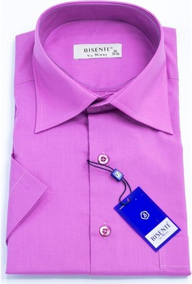 Bisente Pamuklu Erkek Gömlek 8 Renk Düz Kısa Kollu - Cepli 42018