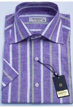Bisente Keten Erkek Gömlek Kısa Kollu 42024