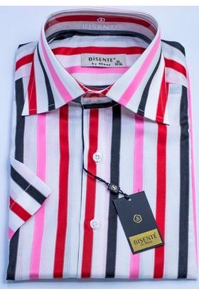 Bisente Pamuklu Erkek Gömlek Düz Kısa Kollu 42032