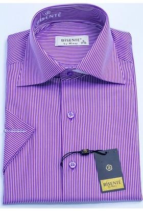 Bisente Pamuklu Erkek Gömlek Düz Kısa Kollu 42033