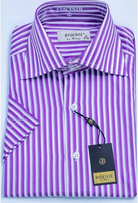 Bisente Pamuklu Erkek Gömlek Düz Kısa Kollu 42036