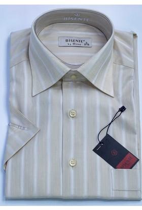 Bisente Pamuklu Erkek Gömlek Düz Kısa Kollu Cepli 42043