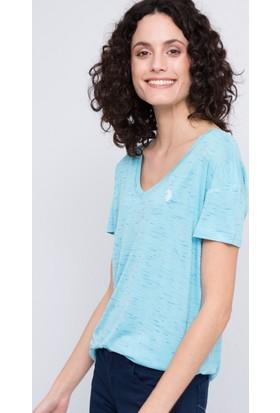 U.S. Polo Assn. Kadın Gadella V Yaka T-Shirt Mavi