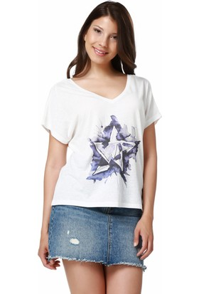 Mumu Beyaz V Yaka Tasarım Kadın T-Shirt - Serhat Aladağ Tasarımı
