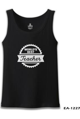 Lord T-shirt World'S Best Teacher Öğretmenler Günü Siyah Erkek Atlet