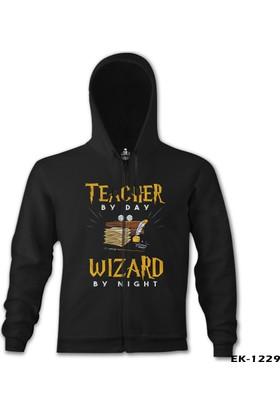 Lord T-shirt Teacher By Day Öğretmenler Günü Siyah Erkek Kapşonlu Sweatshirt