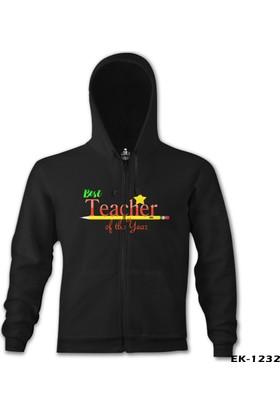 Lord T-shirt Best Teacher Of The Year Öğretmenler Günü Siyah Erkek Kapşonlu Sweatshirt