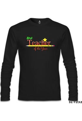 Lord T-shirt Best Teacher Of The Year Öğretmenler Günü Siyah Erkek Sweatshirt