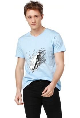 Mumu Rabbit Fishes - Berrin Simavlıoğlu Tasarımı Mavi V Yaka Erkek T-Shirt