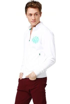 Mumu Triangles Tasarım Baskılı Beyaz Sweatshirt