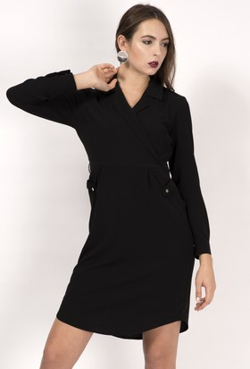 İroni Ceket Yaka Siyah Elbise