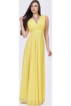 İroni Çapraz Askılı Dekolteli Uzun Sarı Abiye Elbise