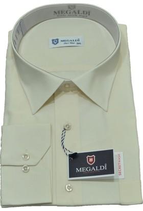 Megaldi Erkek Gömlek Büyük Beden Krem 35102