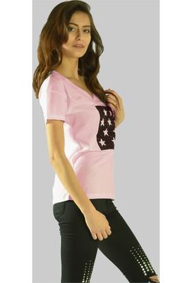 Modamla Simli Yıldız Baskı T-Shirt