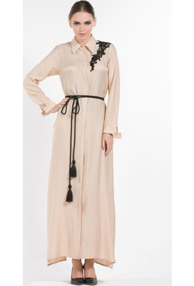 Senna Design Summer Gömlek Elbise 3607 Bej