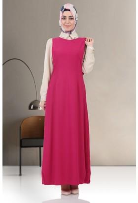 Puane Kolye Aksesuarlı Elbise 4606 Fuşya
