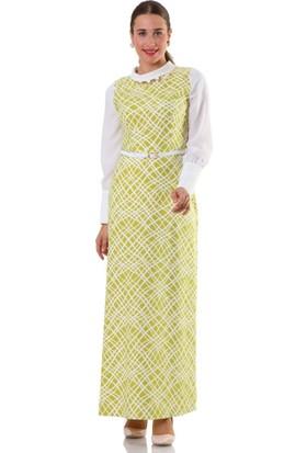 Puane Asimetrik Desenli Elbise 4654 Yeşil
