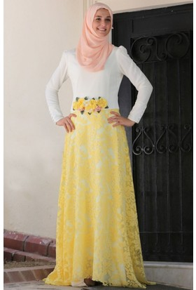 Mislina Yakma Düz Kombin Elbise 15Y3455 Sarı