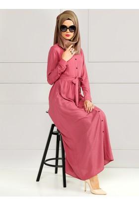 Puantiyeli Elbise - Gül Kurusu - Refka