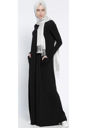 Naturel Kumaşlı Cepli Elbise - Siyah - Everyday Basic