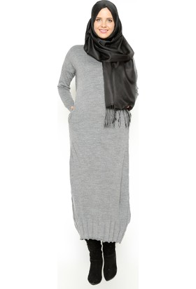 Mevsimlik Elbise - Koyu Gri - Zentoni