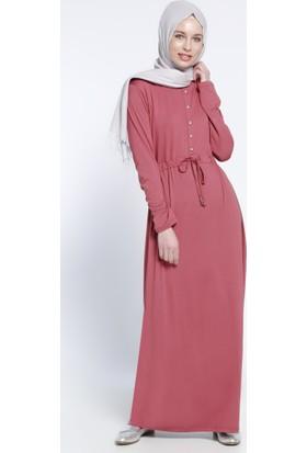 Düğme Detaylı Elbise - Vişne - Everyday Basic