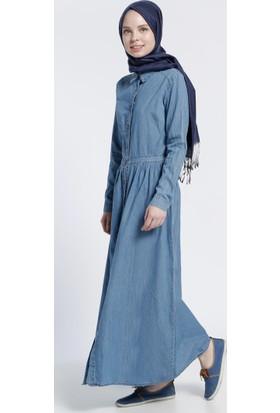 Naturel Kumaş Kot Elbise - Buz Mavisi - Benin