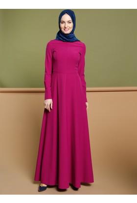 Düz Renk Elbise - Fuşya - Puane
