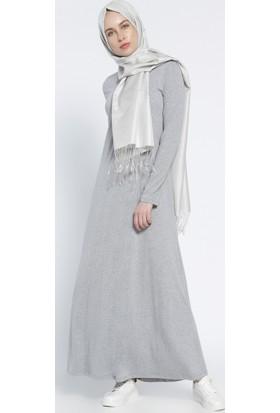 Tek Renk Elbise - Gri - Everyday Basic