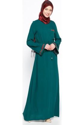 Nakış Detaylı Elbise - Yeşil - Ginezza
